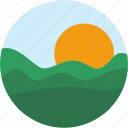 circle, landscape, mountain, scenery, sun, sunset icon