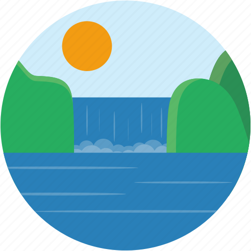 circle, landscape, scenery, summer, waterfall icon