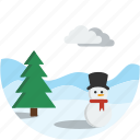 circle, landscape, scenery, snow, snowman, winter icon