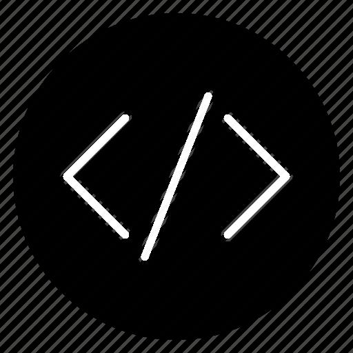 code, development, javascript, round icon