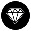 diamond, gem, jewelry, round, stone, treasure icon