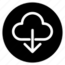 cloud, data, download, round, storage icon