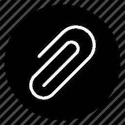attach, clip, paperclip, round icon