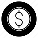 business, currency, dollar, finance, money, round icon