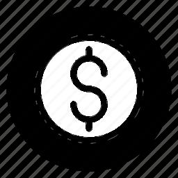 dollar, finance, money, round icon