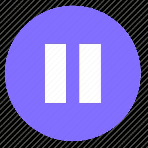 audio, multimedia, music, pause, round, video icon