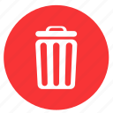 bin, delete, exit, recycle, remove, round, trash icon