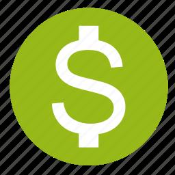 cash, dollar, finance, money, payment, price, round icon