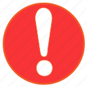 alert, danger, error, exclamation, round, surprise, warning icon