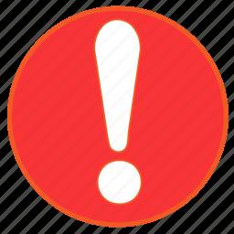 alert, danger, error, exclamation, round, surprise, warning icon