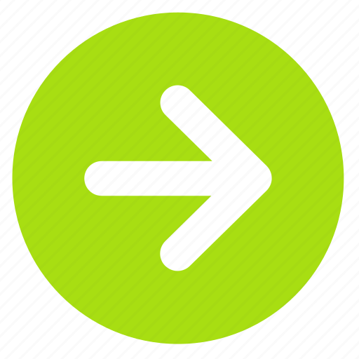 arrow, direction, next, right, round icon