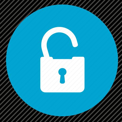 lock, open, password, round, safe, secure, unlock icon