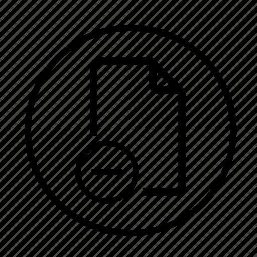 delete, delete file, document, documents, images, minus, page, paper, remove, remove document icon