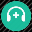 headphones, music, plus, volume icon
