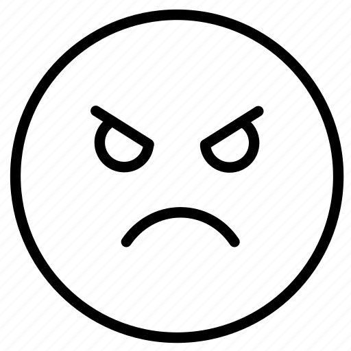 angry, emoji, expression, face, outline icon