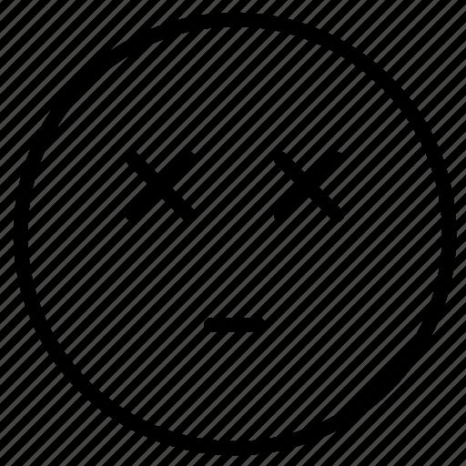 blind, drunk, emoji, expression, face, feeling, outline icon