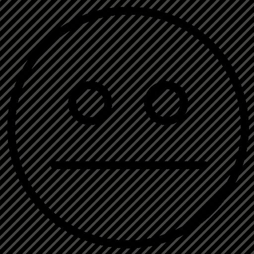 emoji, expression, face, neutral, outline, sad, surprise icon
