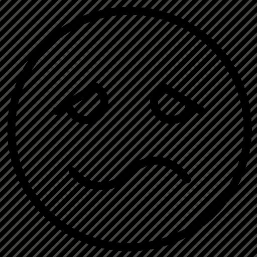emoji, emotion, expression, face, feeling, outline, sick icon