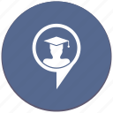 hat, location, phd, poi, pointer, student, university icon
