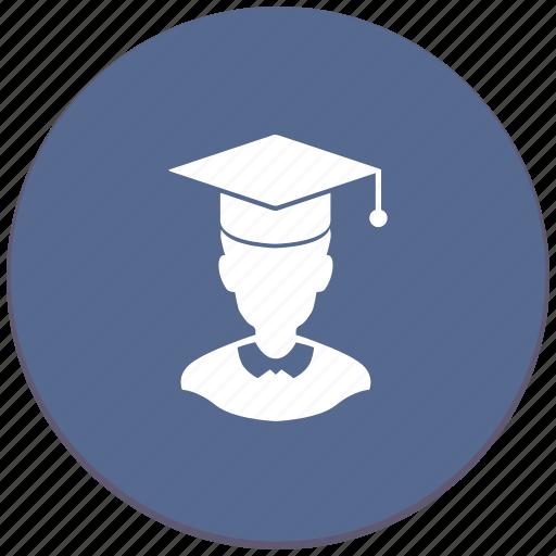 education, hat, magister, man, phd icon