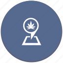 canabis, drug, map, place, pointer icon