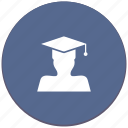 education, hat, level, magister, phd, professor icon
