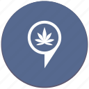 canabis, drug, geo, location, plant, pointer icon