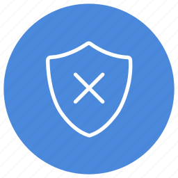 cross, no, shield, stop, unprotected, unsafe, warning icon