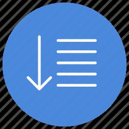 down, list, sort icon