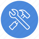 build, hammer, store, tools, wrench icon