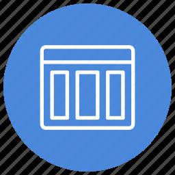columns, configuration, custom, horizontal, interface, three, window icon