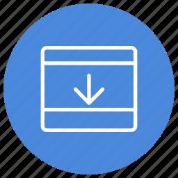 bottom, configuration, custom, expand, interface, panel, window icon