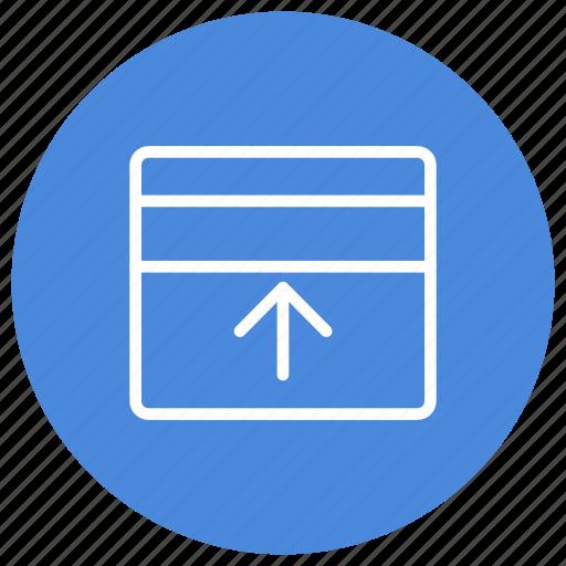 configuration, custom, expand, interface, panel, top, window icon