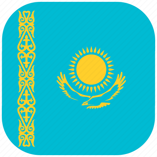 country, flag, kazakhstan, national, rounded, square icon