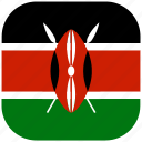 country, flag, kenya, national, rounded, square