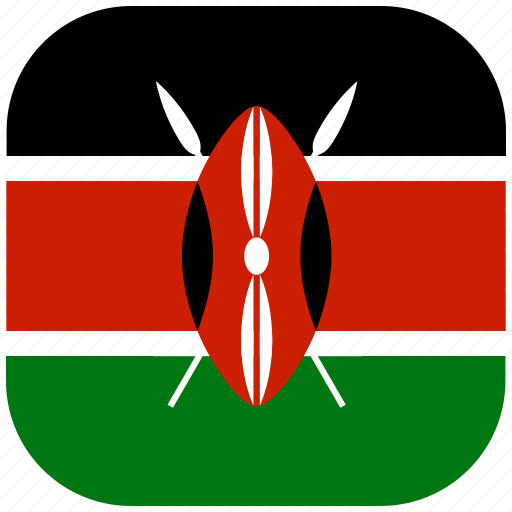 country, flag, kenya, national, rounded, square icon
