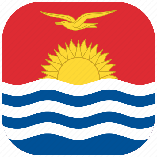 country, flag, kiribati, national, rounded, square icon