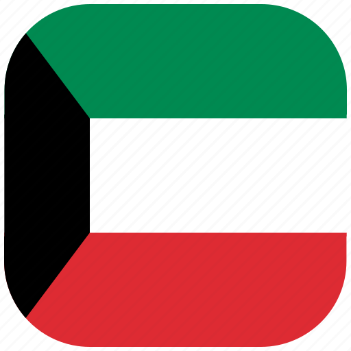 country, flag, kuwait, national, rounded, square icon