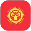 country, flag, kyrgyzstan, national, rounded, square