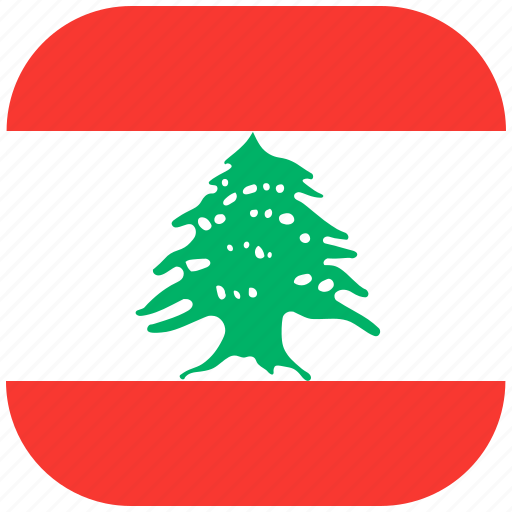 country, flag, lebanon, national, rounded, square icon