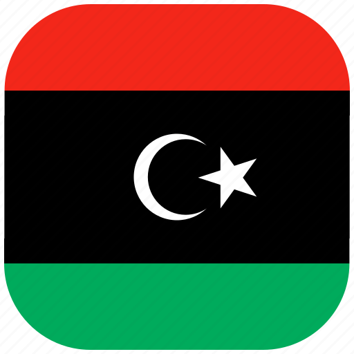 country, flag, libya, national, rounded, square icon