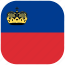 country, flag, liechtenstein, national, rounded, square icon