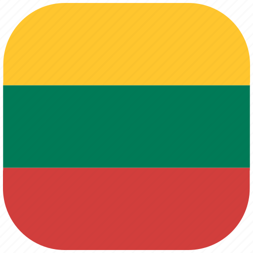 country, flag, lithuania, national, rounded, square icon
