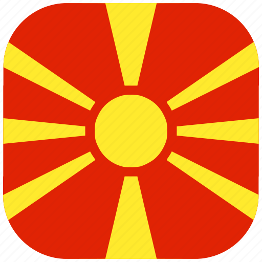 country, flag, macedonia, national, rounded, square icon