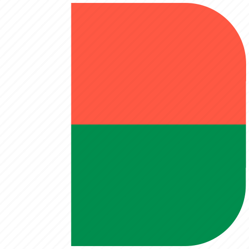 country, flag, madagascar, national, rounded, square icon
