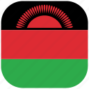 country, flag, malawi, national, rounded, square