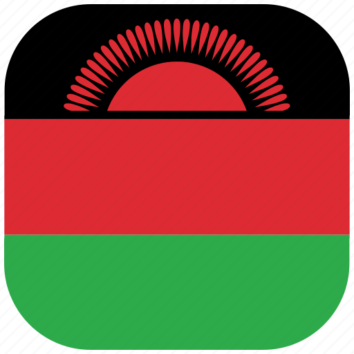 country, flag, malawi, national, rounded, square icon