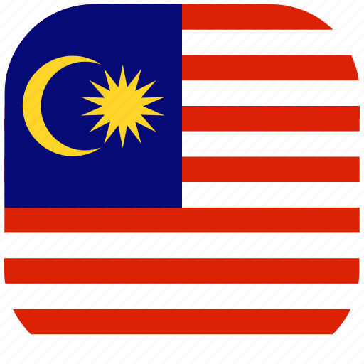 country, flag, malaysia, national, rounded, square icon