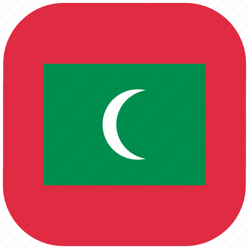 country, flag, maldives, national, rounded, square icon