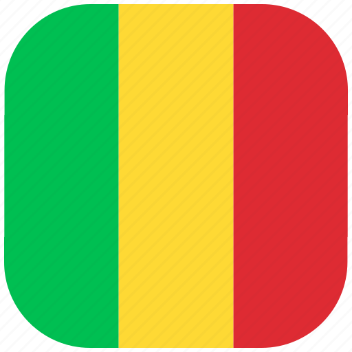 country, flag, mali, national, rounded, square icon